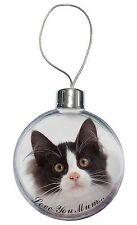 Black White Cat 'Love You Mum' Christmas Tree Bauble Decoration Gif, AC-200lymCB