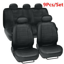 9Pcs/Set Black Artificial Leather Car Seat Cover Full Set Front & Rear Cushion