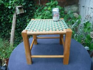 Vintage Retro Wooden Stool with Green & Beige Rope / Rattan Weave Seat