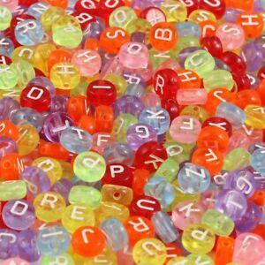 50 Letter Beads Alphabet Acrylic Assorted Lot BULK Wholesale Rainbow Coin *