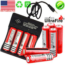 10X UltraFire Powered 18650 Battery 3.7V Li-ion Rechargeable Batteries Chargers