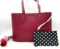 Auth NWT Kate Spade All Day Leather Large Shopper Tote Bag In Red Currant