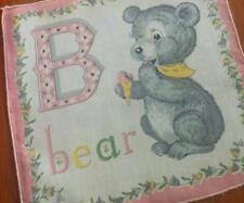 "Vintage Child Alphabet Pink ""B"" Bear Hanky Handkerchief Hankies"