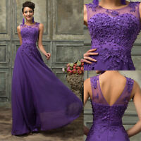 New  Long Formal Evening Lace Party Prom Ball Gown Wedding Bridesmaid Maxi Dress