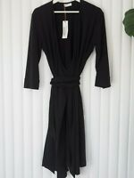 MADISON ROSE Womens NWT Beautiful Black Wrap Stretch Dress Size L RRP $169