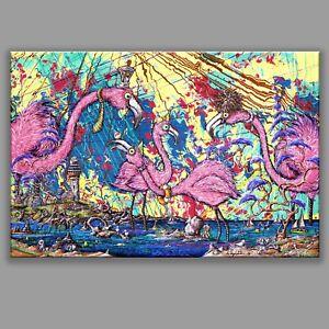 8x12 FLAMINGOS, graffiti street tattoo art Miami monkey light house sail boat