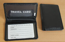 Leather Travel Card Holder * Black * Oyster Card Train Tram Bus Rail Card