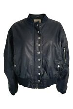 FREE PEOPLE Black Vegan Leather Button Front Bomber Jacket (S)