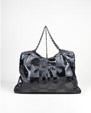 Genuine CHANEL Black Leather Brooklyn Ligne patchwork large cabas tote bag