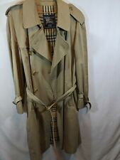 Men's Burberry Double Breasted Trench Coat w Belt Size 52 R Tan VTG no liner