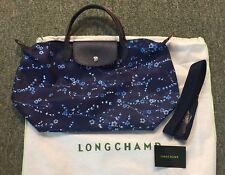 Longchamp $225 Le Pliage Neo Navy Blue Sakura Floral Tote Bag New