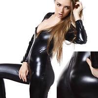 DISFRAZ SEXY LENCERIA CATSUIT MONO ENTERIZO PVC VINILO TALLA S-M-L-XL