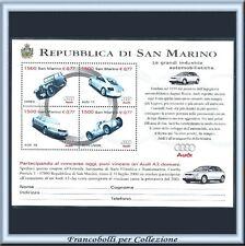 1999 San Marino Foglietto Audi Case Automobilistiche n. 53 Nuovo Integro **