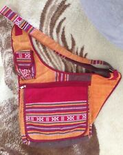 Sturdy Cotton Ethnic Print Multi-Pocket Crossbody Purse Bag Travel Shoulder Bag