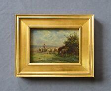 Jean F. Chaigneau (1830-1903) Antique Barbizon Oil Sheep Landscape Painting