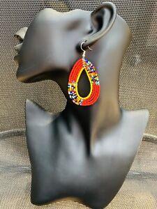 Earrings Drop Dangle Beaded African MAASAI Masai Ethnic Tribal Kenya handmade