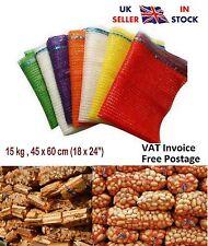 More details for 100 x net raschel bags sacks vegetables logs kindling wood log mesh 45x60cm 15kg