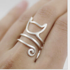 925 Sterling Silver Long Tail Wrap cat  ring rings jewelry adjustable P569