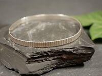 Toller 835 Silber Armreif Breit Geriffelt Rillen Modern Elegant Nicht Ganz Rund