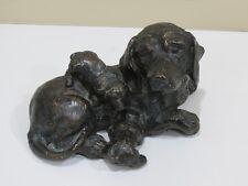 Antique Vintage Mother and Puppy Bronze Sculpture