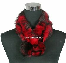 New Stylish 100% Rabbit Fur Handmade Self-Tied Neck Collar Scarf BOA, Red/Black
