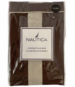 "Nautica Fairfield European Square Pillow Sham Dark Brown and Beige 26""x26"" NEW"
