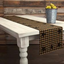 "New Primitive Farmhouse Country BLACK STAR Tan Homespun Check Table Runner 36"""