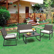 4PCS Rattan Patio Furniture Set Wicker Cushioned Seat Sofa Garden Lawn Sofa