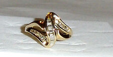 10K Yellow Gold Diamond Baguette & Round Band Ring, Size 9, 0.50(TCW), 3.6GR