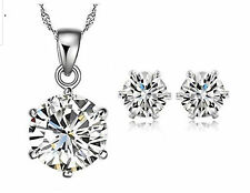 Sterling Silver Made With Swarovski Elements Necklace & Stud Earrings Set