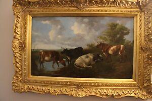 James Charles Morris oil on panel 1851 British Artist Cattle within a gilt frame
