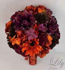 17 Piece Package Silk Flower Wedding Bridal Bouquet PLUM MAUVE ORANGE BROWN FALL