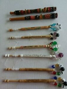Vintage commemorative beaded lace bobbins
