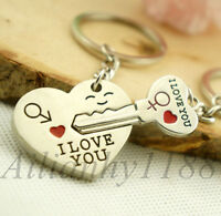 1Pair New Couple Gift Heart Key Keychain Keyring Set Valentines'day Love Gift HY