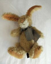 Retired BOYDS Bears Archive Collection Beige Chenille Bunny Rabbit  Plaid Scarf