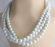 Birdal Pearl Wedding Bridesmaid Necklace White Pearl Multi Strand Statement