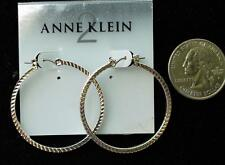 New Original Card Old Stock ANNE KLEIN Silvertone HOOP Shape Pierced Earrings