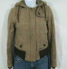 American Eagle Outfitters Plaid Wool Jacket Brown Faux Fur Lined Hood SIZE XS