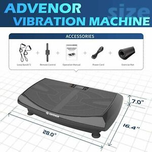 ADVENOR 4D Vibration Plate Exercise Machine Triple Motor 120 Speed Loop Bands