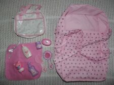 """YOU & ME DOLL BED/CARRIER, BATH TIME ACCESSORIES & BAG, FOR DOLLS UP TO 16"""""""