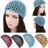 Women Mesh Hair Net Crochet Cap Solid Color Snood Sleeping Night Cover Turbans Q