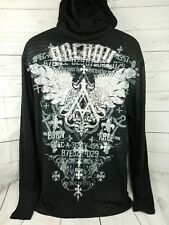 Archaic Affliction Mens Size Large Cotton Long Sleeve Hooded T Shirt Black