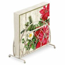 POINSETTIA HOLLY LEAVES CHRISTMAS 20 X PAPER NAPKINS & LATTICE NAPKIN HOLDER SET