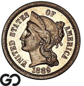 1889 Three Cent Nickel Piece PROOF, Cameo Look PR