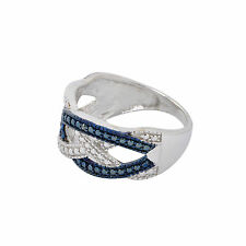 Diamond Ring Sterling Silver .02ct - Blue & White Weave Criss Cross Design