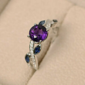 14K White Gold Plated Round Cut 1.52 Ct Amethyst Fancy Leaf Proposal Ring