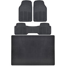 4 PC Set Auto Floor Mats Car Truck SUV Black Semi Custom Trimmable w/ Cargo Mat