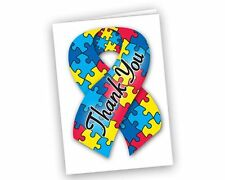 Autism Ribbon Thank You Cards - Small (1 Pack) FREE SHIPPING