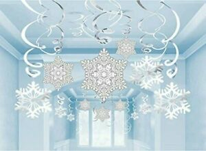 30 Frozen Snowflake Swirls Hanging Party Decorations Christmas Winter Snow Party
