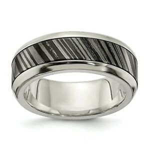 Edward Mirell Titatium 8mm Sterling Silver Core Timoku Wedding Band Size 7 to 13